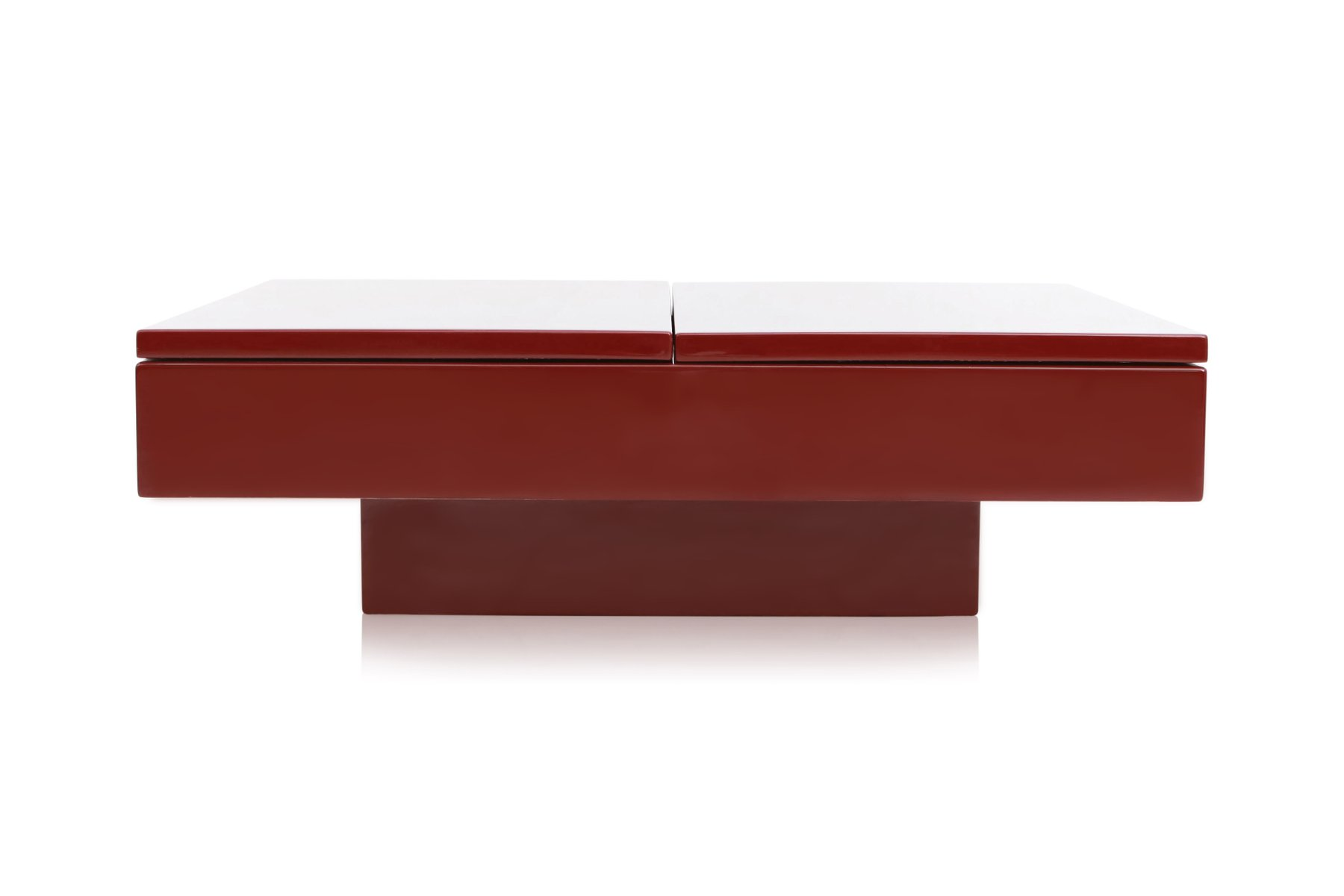 Red Lacquered Sliding Bar Coffee Table By Jean Claude Mahey, 1980s