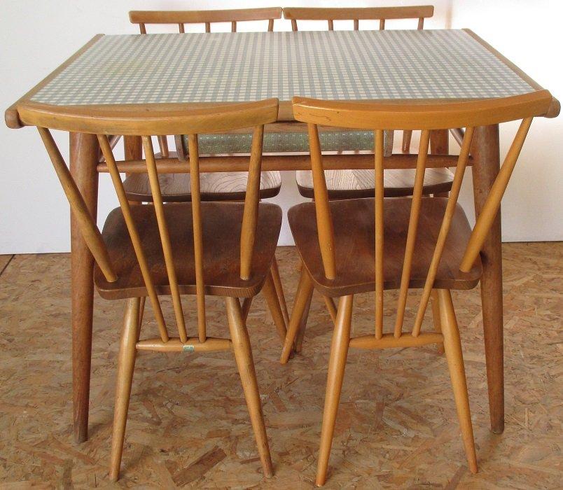 Formica Tisch mit 4 Stühlen von Lucian Ercolani für Ercol, 1960er