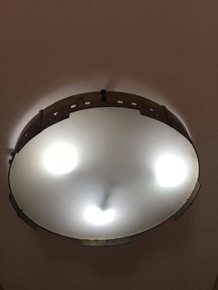 Large Spanish Art Deco Brass Flush Mount Ceiling Lamp 1920s For