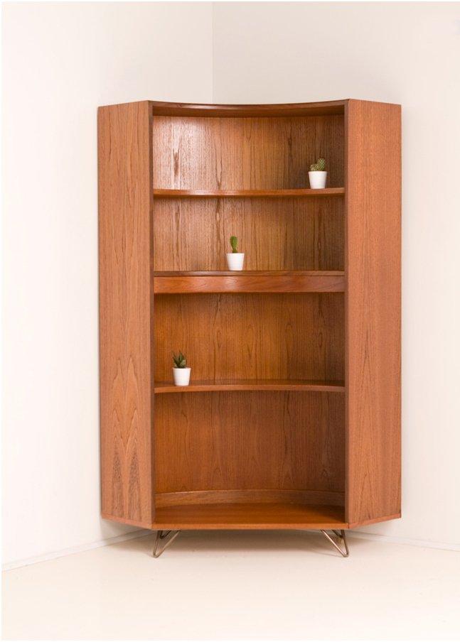 vintage teak corner bookcase   plan   sale