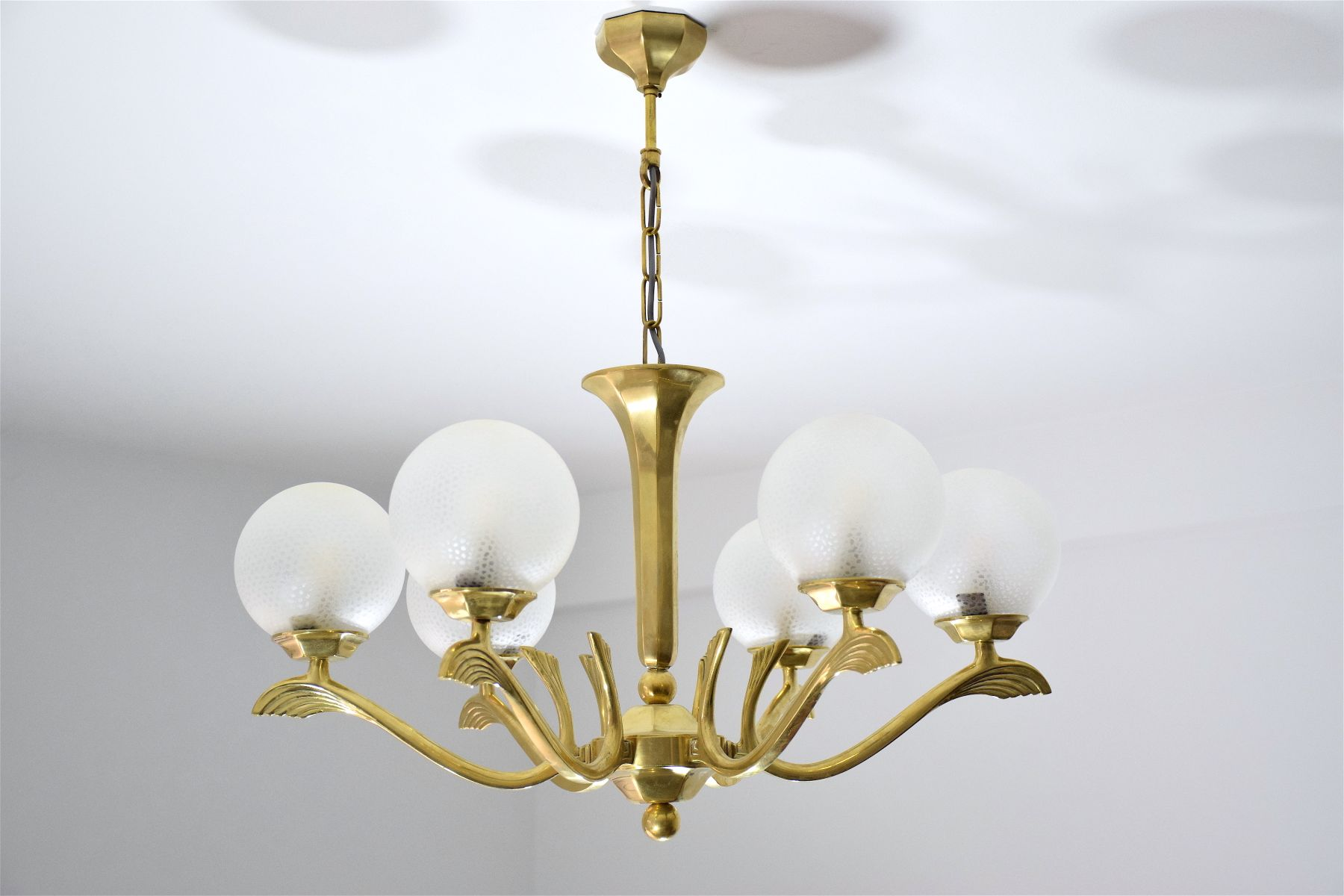 French art deco brass chandelier 1930s for sale at pamono french art deco brass chandelier 1930s aloadofball Gallery