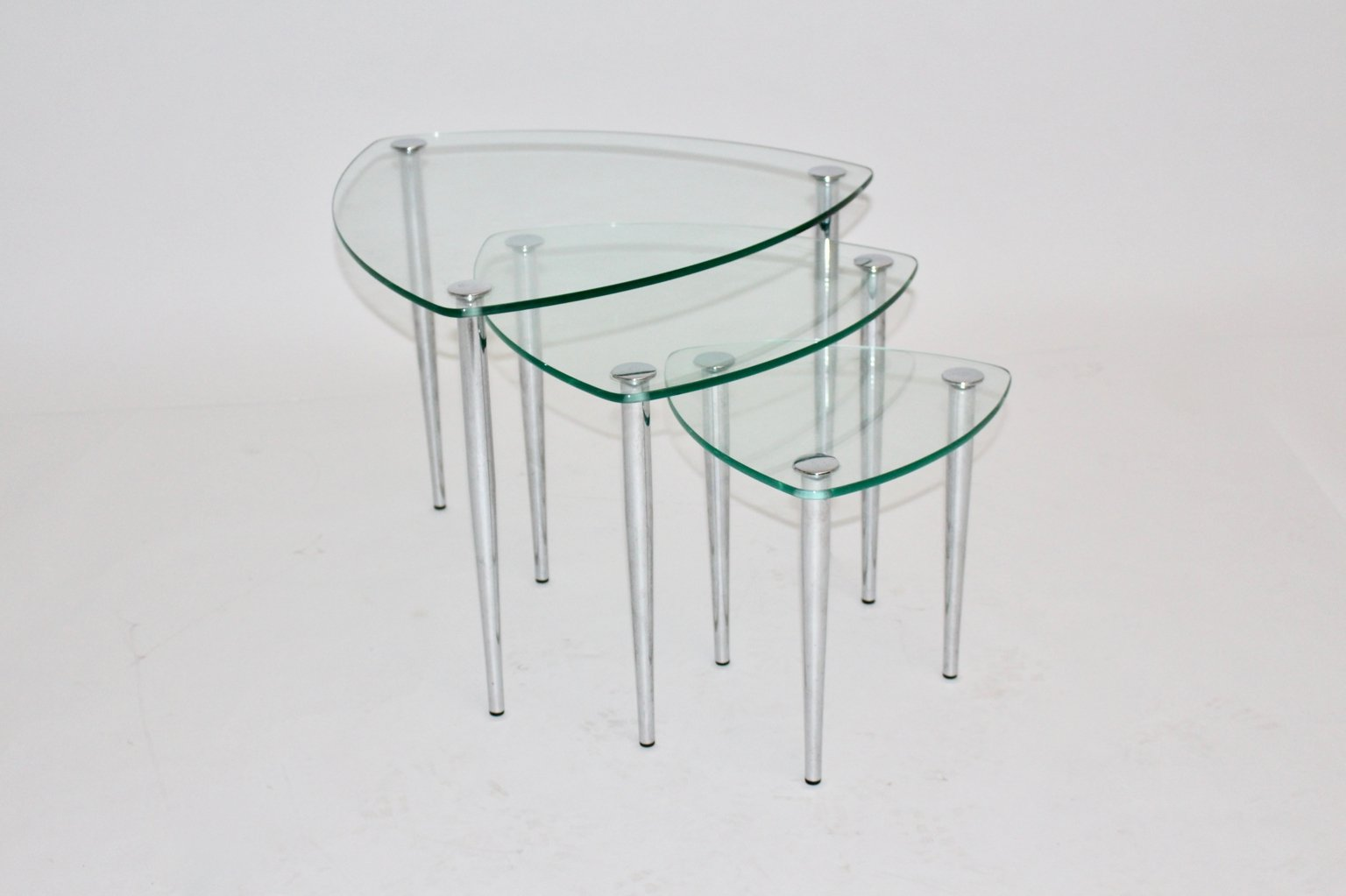 Mid century italian chrome and glass nesting tables 1960s for sale mid century italian chrome and glass nesting tables 1960s watchthetrailerfo