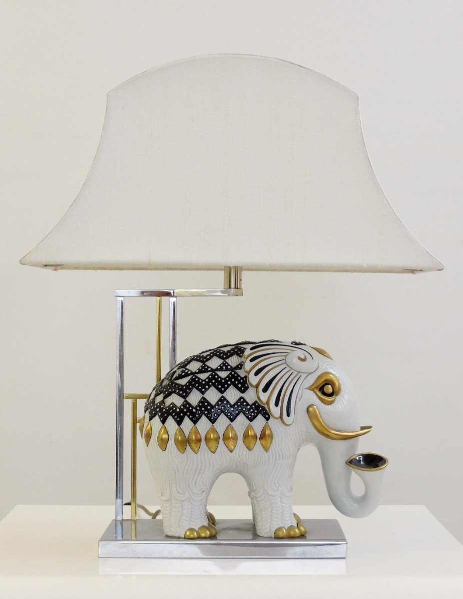 Mangani Porcelain Elephant Table Lamp, 1950s
