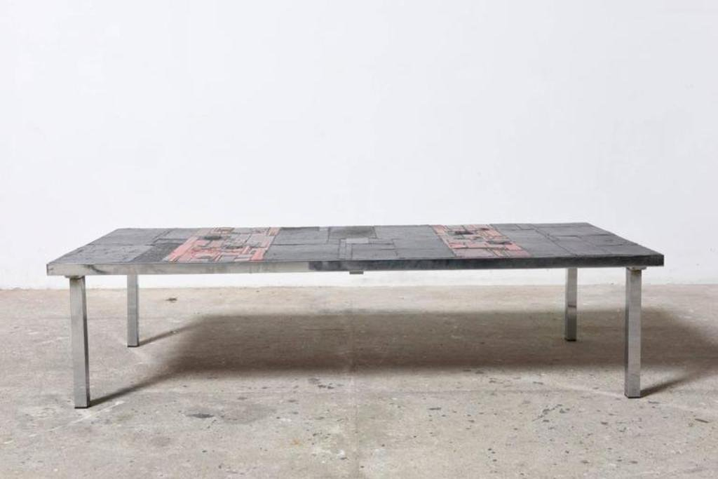 Large Low Rectangular Art Ceramic Tile Table By Pia Manu 1960s For