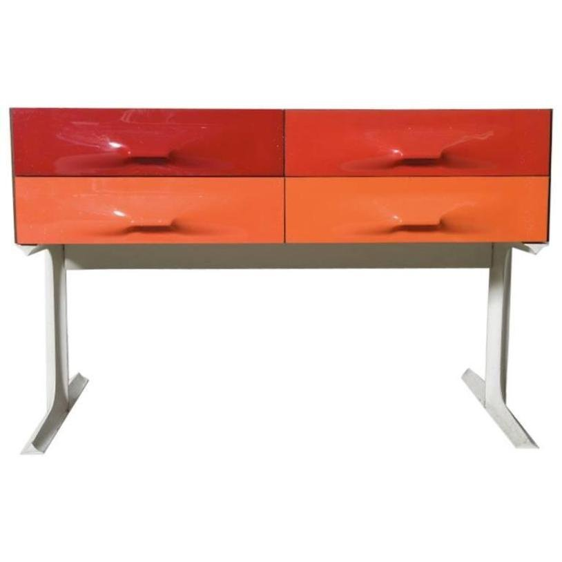 Niedrige Kommode in Rot & Orange von Raymond Loewy für Doubinsky Fre?r...