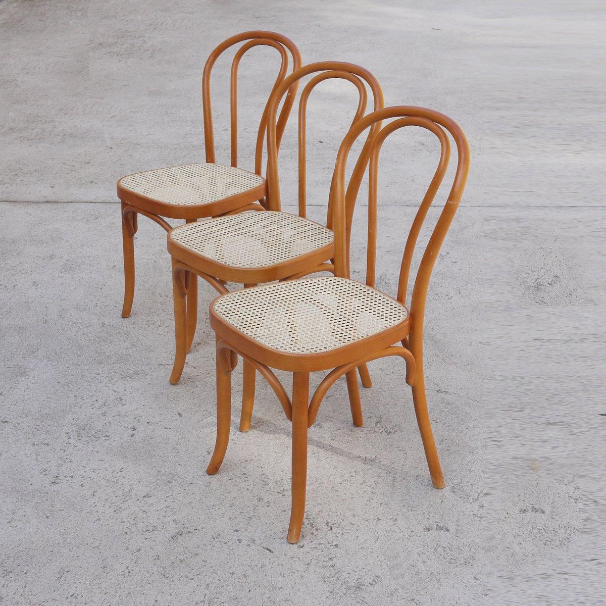 Sedie da pranzo vintage in legno e vimini set di 3 in for Sedie da pranzo
