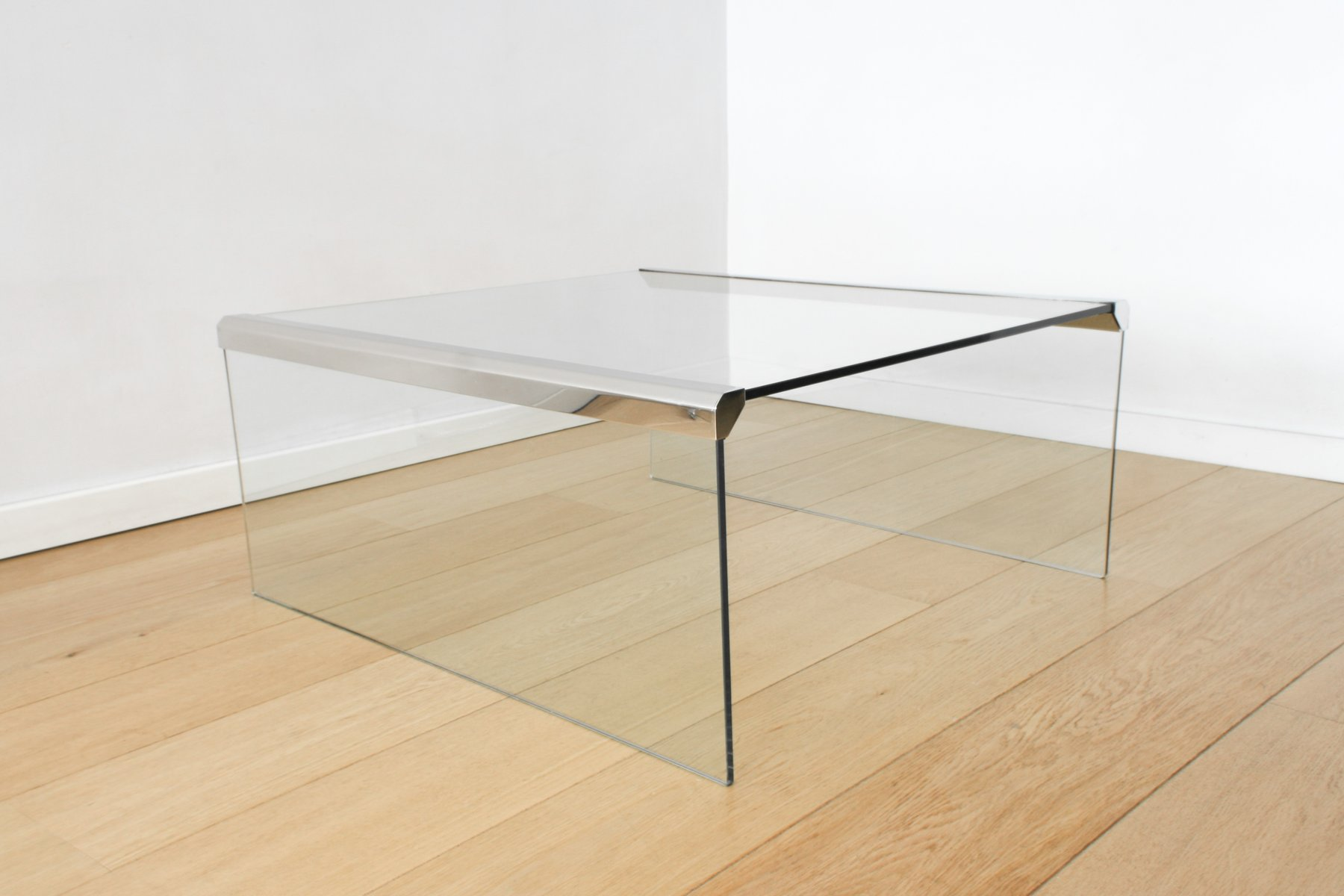 Clear Glass Coffee Table by Pierangelo Gallotti for Gallotti & Radice,...