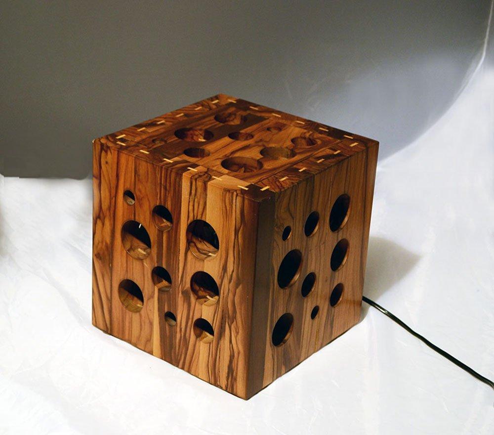 Lampada da tavolo in legno di olivo fatta a mano italia - Lampada da tavolo legno ...