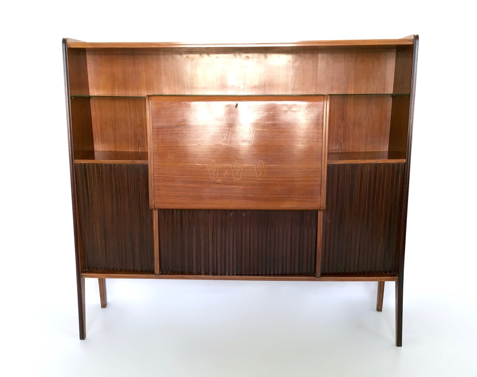 italienischer barschrank aus palisander spiegelglas kristall 1950er bei pamono kaufen. Black Bedroom Furniture Sets. Home Design Ideas