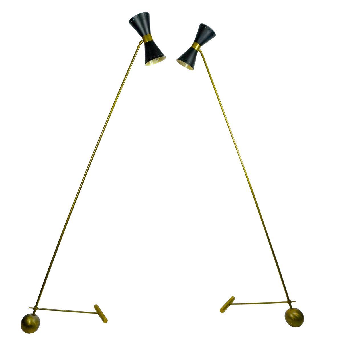 Gegengewicht Stehlampen, 1950er, 2er Set