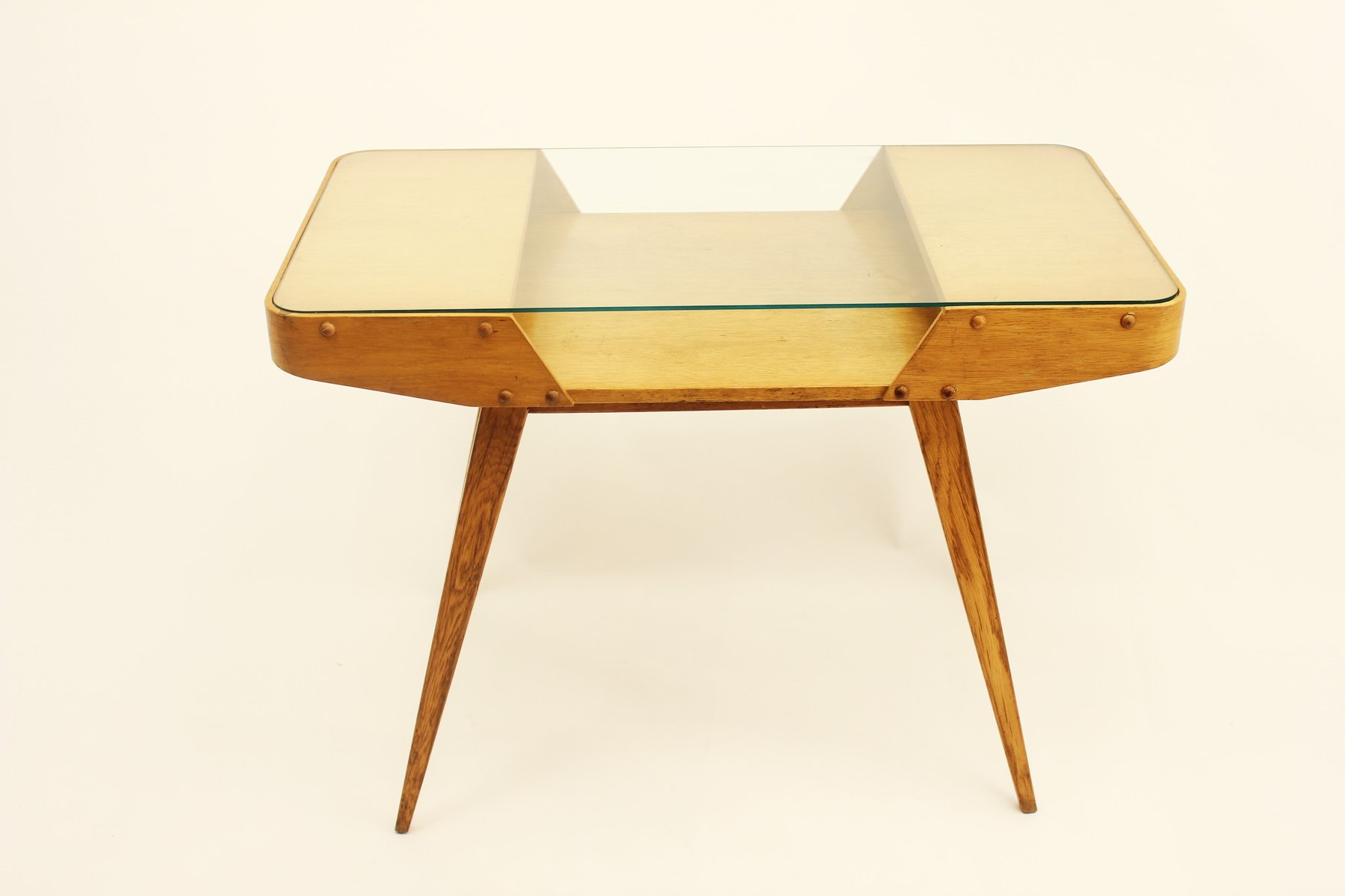 Vintage Czechoslovakian Oak Coffee Table With Glass Top 1960s