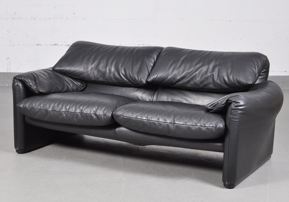 Vintage Maralunga Black Leather Two Seater Sofa By Vico Magistretti