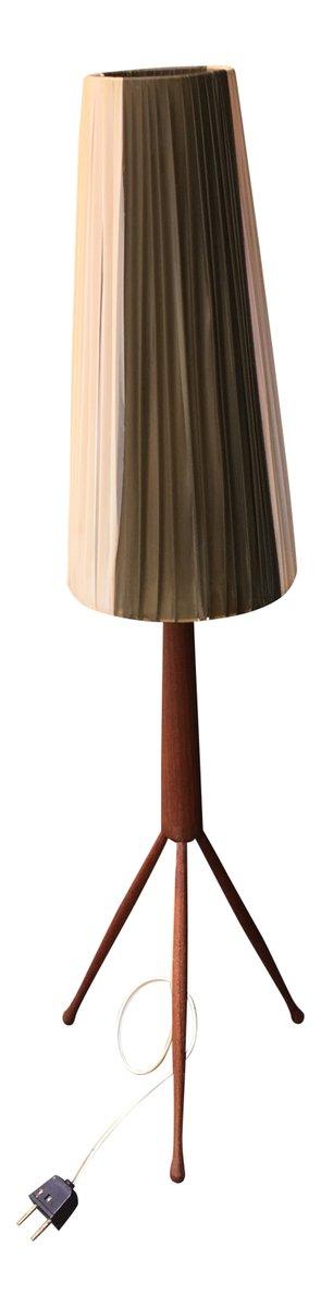 Vintage Teak Lampe mit Dreibein Fuß