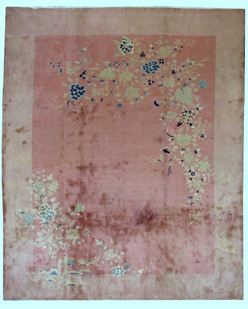antiker handgekn pfter chinesischer art deco teppich 1920er bei pamono kaufen. Black Bedroom Furniture Sets. Home Design Ideas