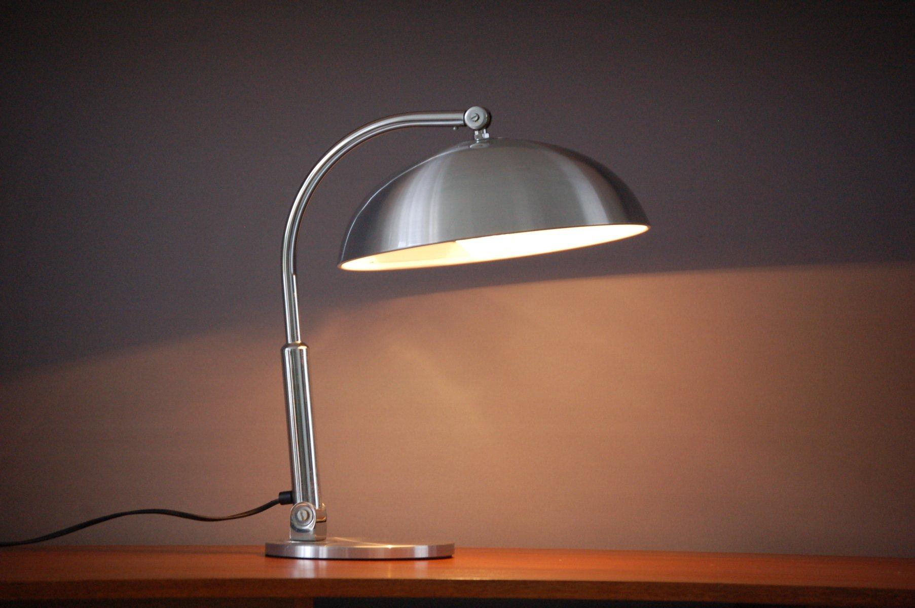 Silberfarbene Niederländische Schreibtischlampe von H.Busquet für Hala...