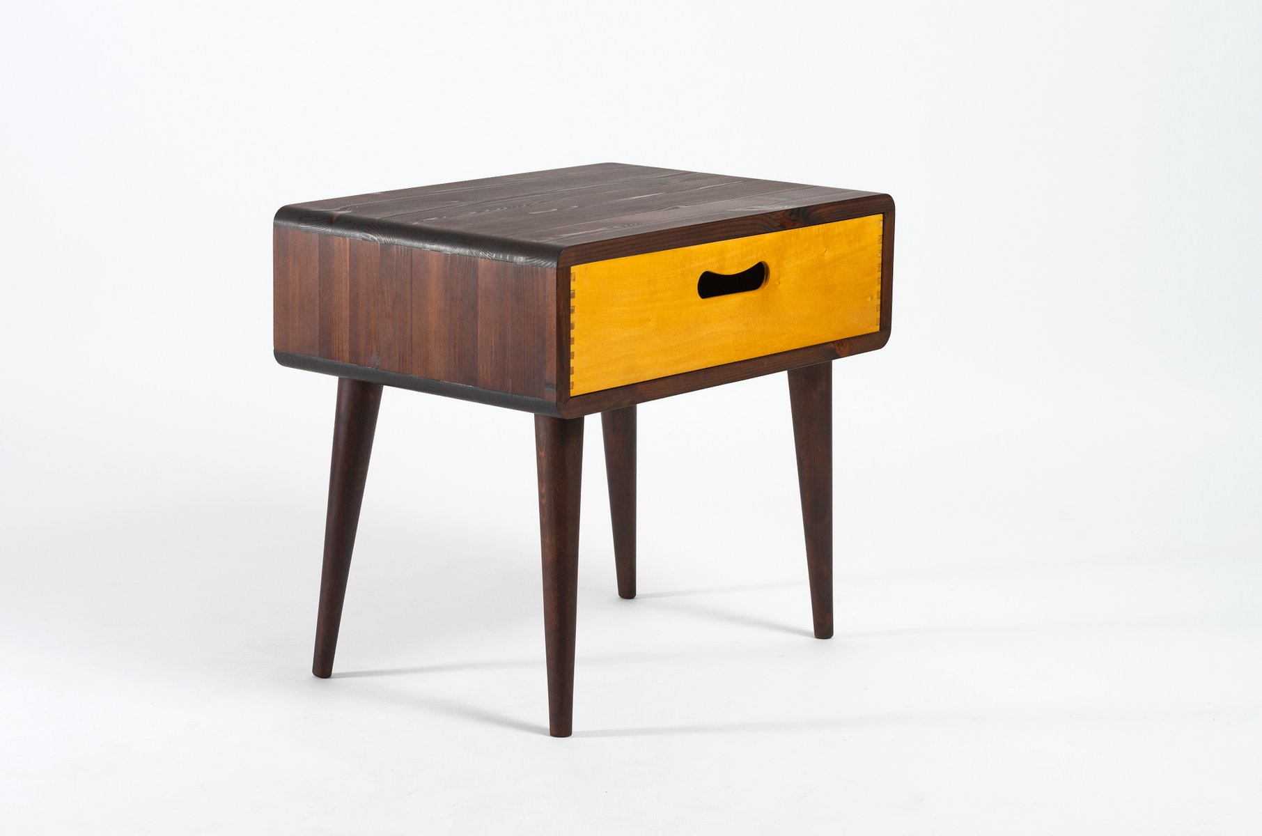 mid century beistelltisch mit schublade bei pamono kaufen. Black Bedroom Furniture Sets. Home Design Ideas