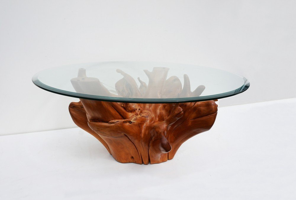 Mid Century Teak Tree Root Coffee Table With Beveled Glass