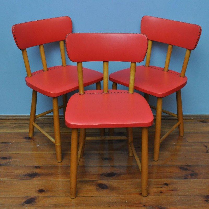 rote schwedische st hle 1950er 3er set bei pamono kaufen