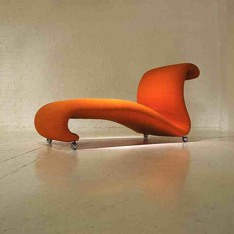 chaise longue orange mid century par verner panton pour storz palmer 1960s en vente sur pamono. Black Bedroom Furniture Sets. Home Design Ideas