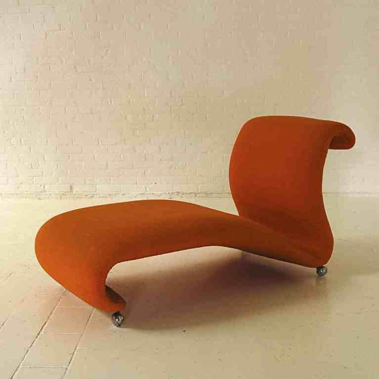 Mid Century Orange Chaise Longue By Verner Panton For Storz Palmer 1960s
