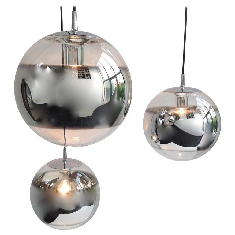 Verspiegelte Glaskugel-Hängelampen, 1960er, 3er Set