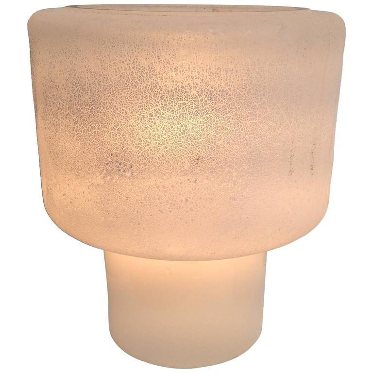 Murano Eisglas Tischlampe von Alfredo Barbini