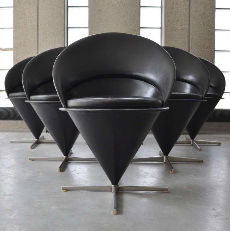 schwarze leder cone sessel von verner panton f r gebr der nehl 6er set bei pamono kaufen. Black Bedroom Furniture Sets. Home Design Ideas