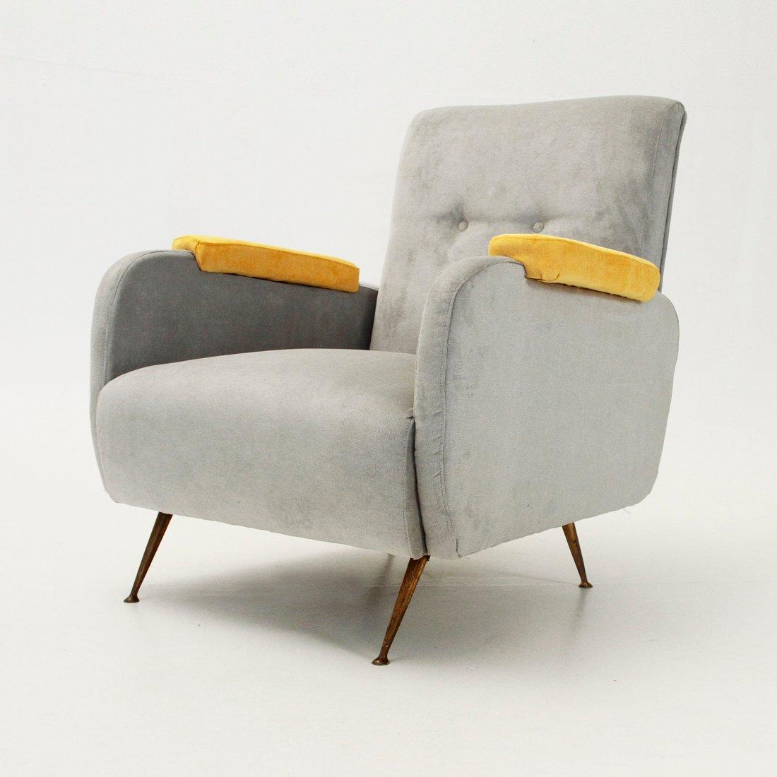 italienischer mid century sessel mit gelben armlehnen 1950er bei pamono kaufen. Black Bedroom Furniture Sets. Home Design Ideas