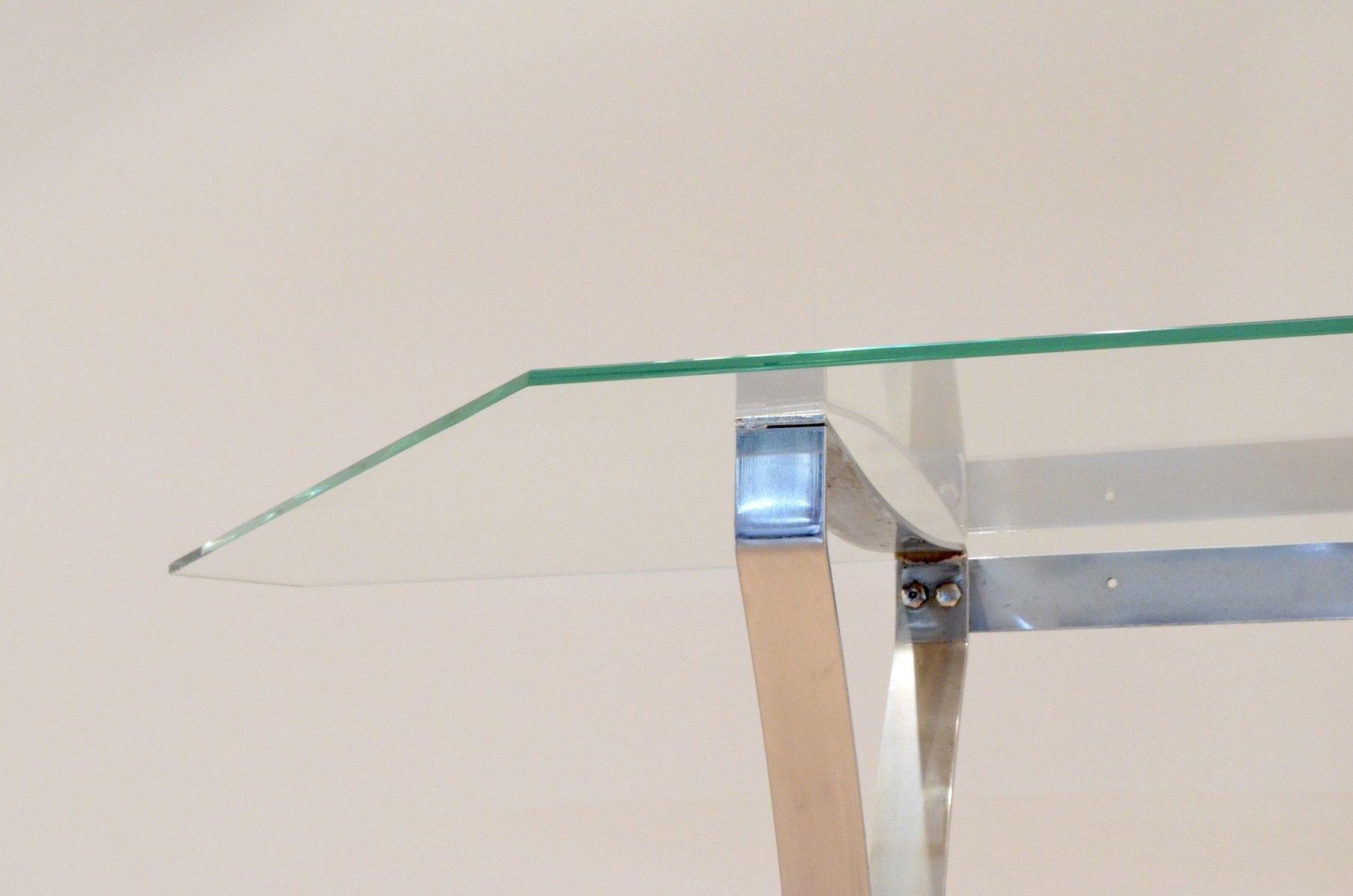 bogenf rmiger flur konsolentisch aus klarglas und chrom 1970er bei pamono kaufen. Black Bedroom Furniture Sets. Home Design Ideas