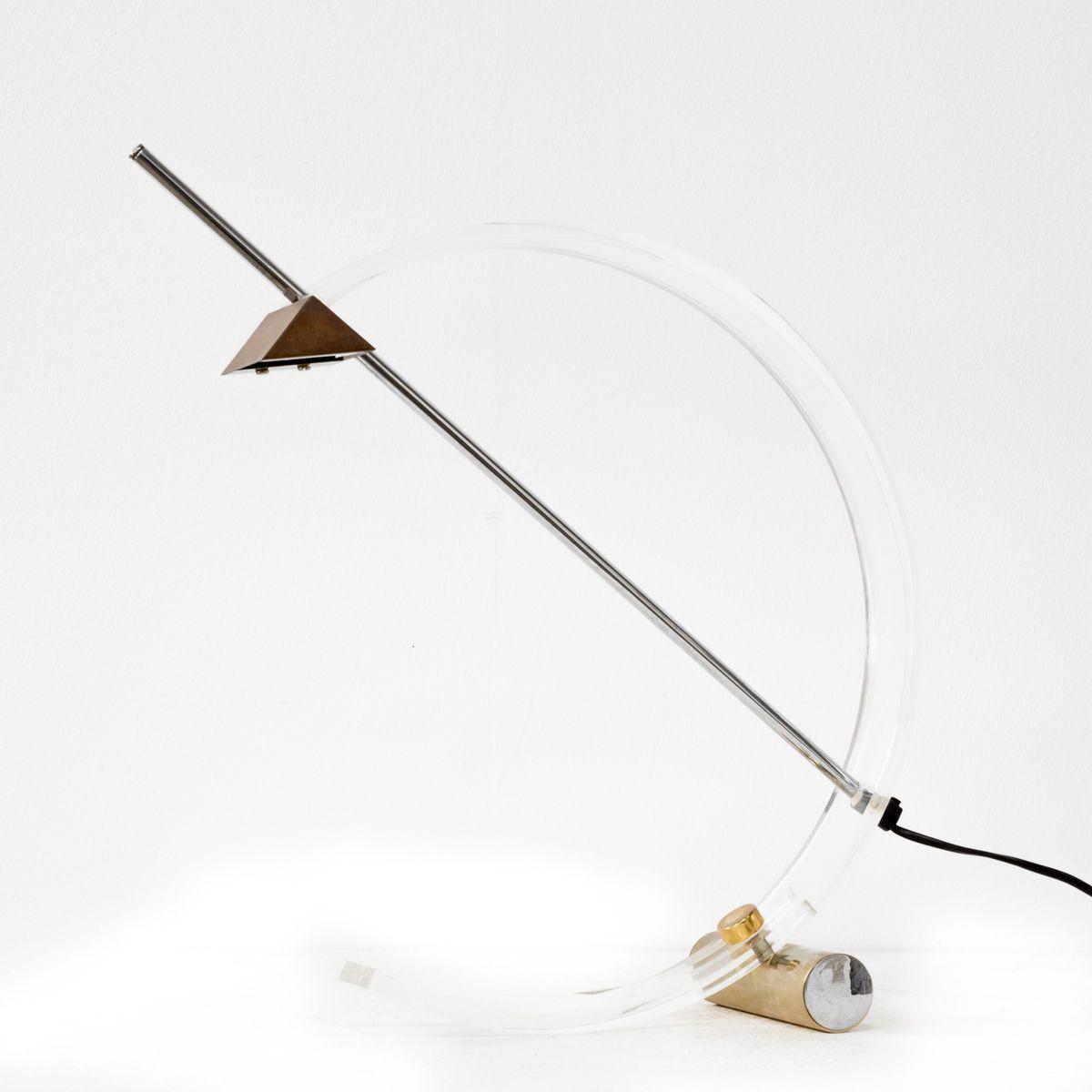 Italienische Tischlampe aus Metall und Plexiglas, 1980er