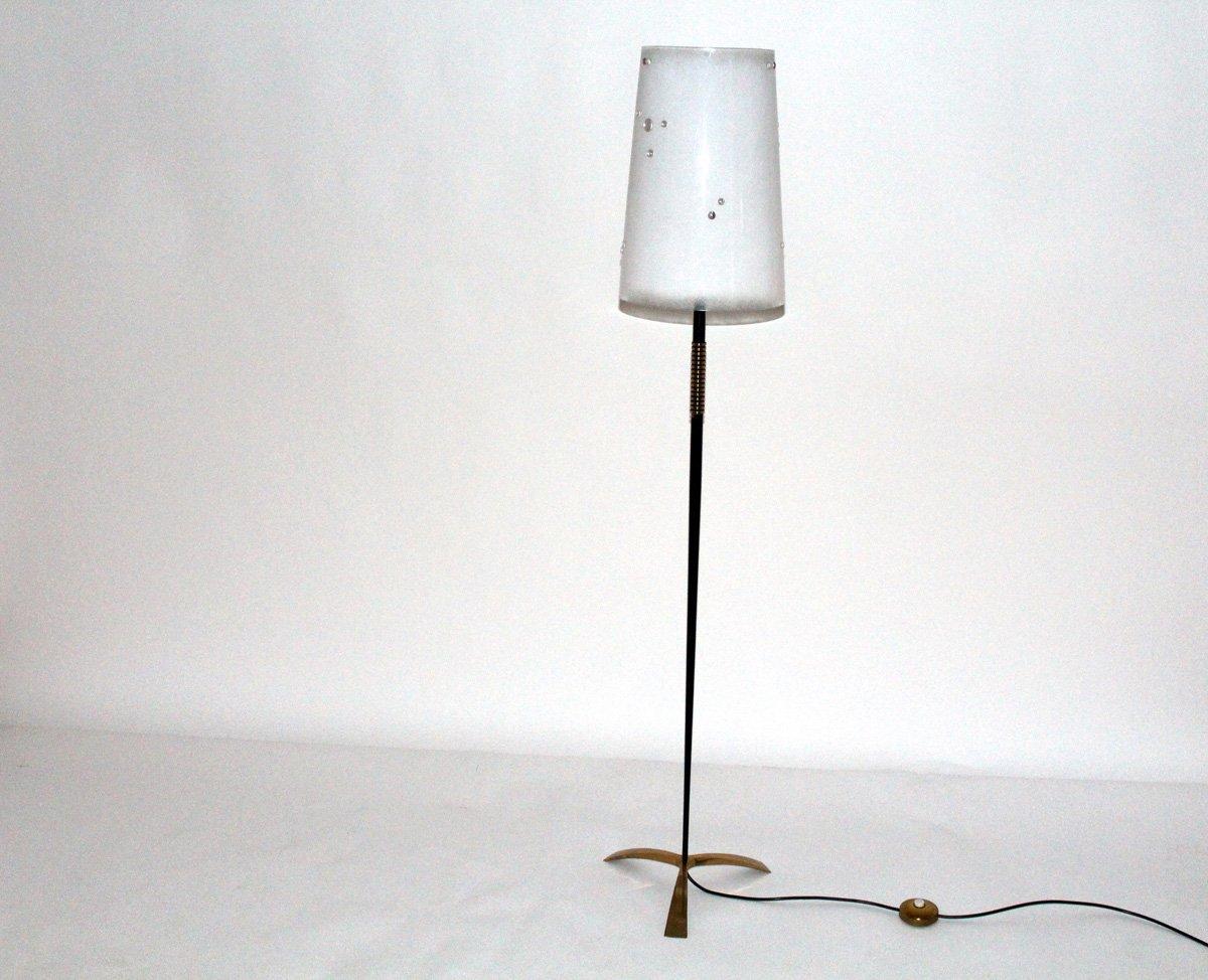Massive Messing Stehlampe von Nikoll, 1950er