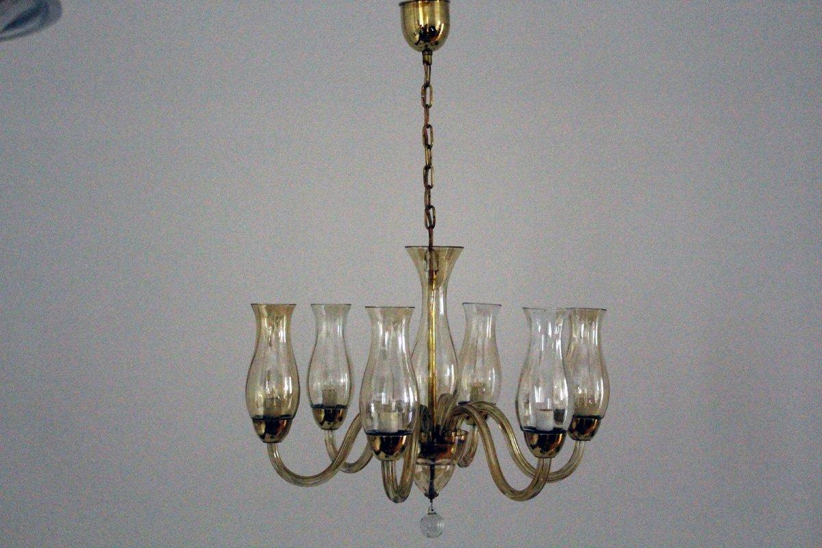 Venezianischer Kronleuchter aus Silberoxid Glas, 1930er