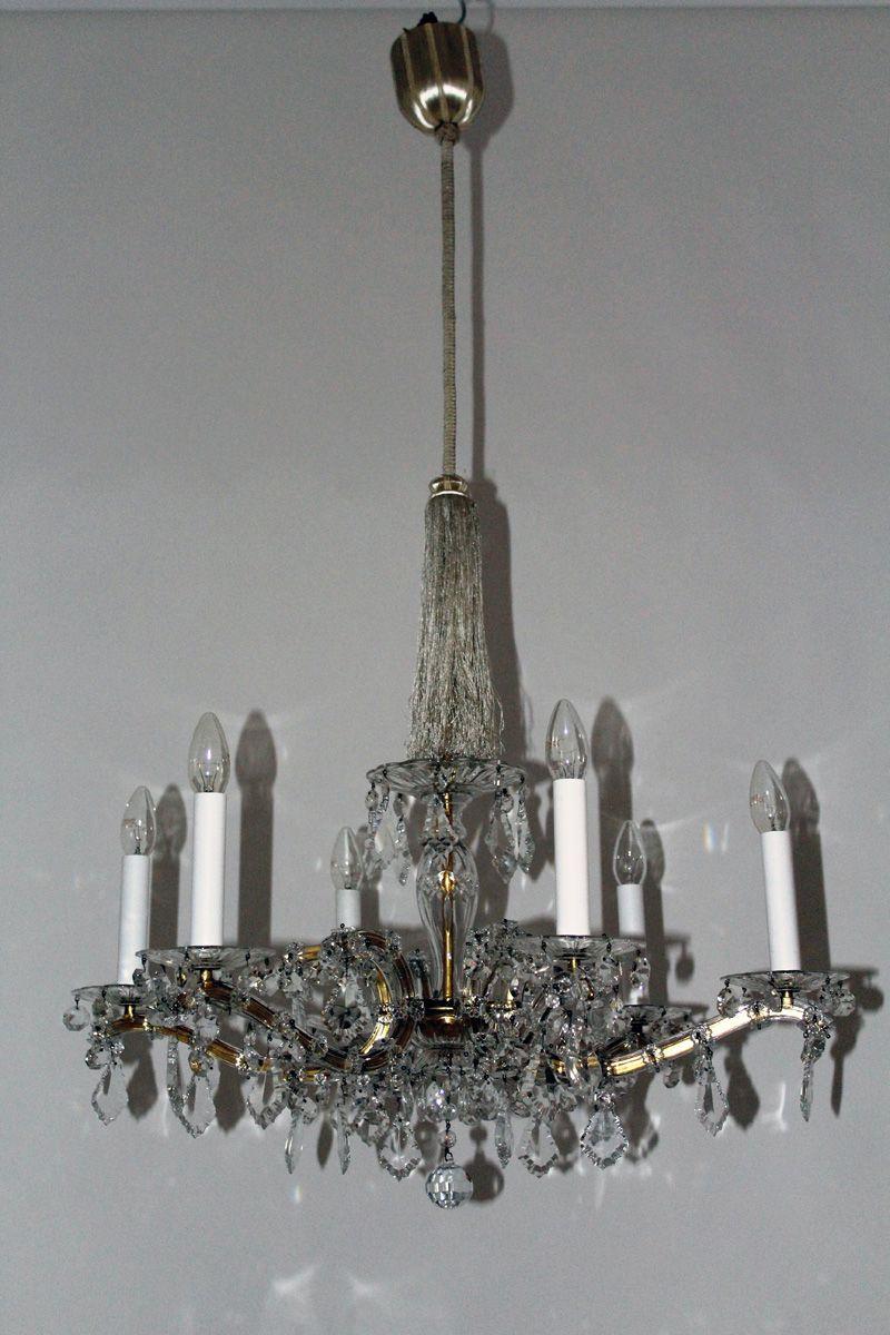 Kronleuchter mit Drapierungen aus Kristallglas, 1950er