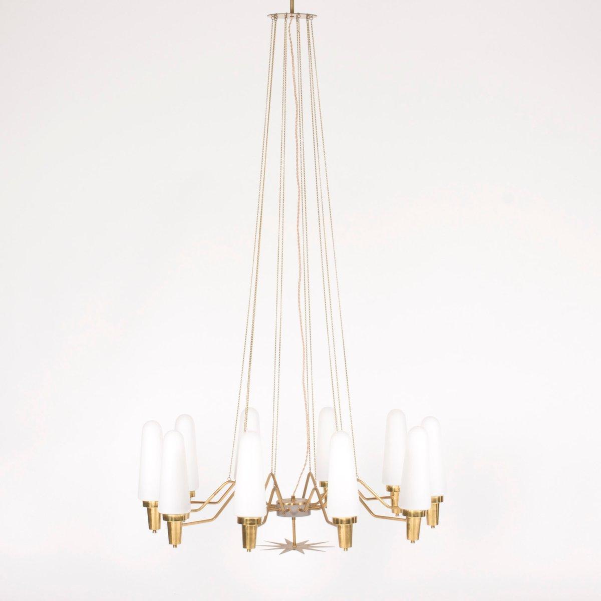 Messing & Opalglas Kronleuchter von Nordiska Kompaniet, 1950er