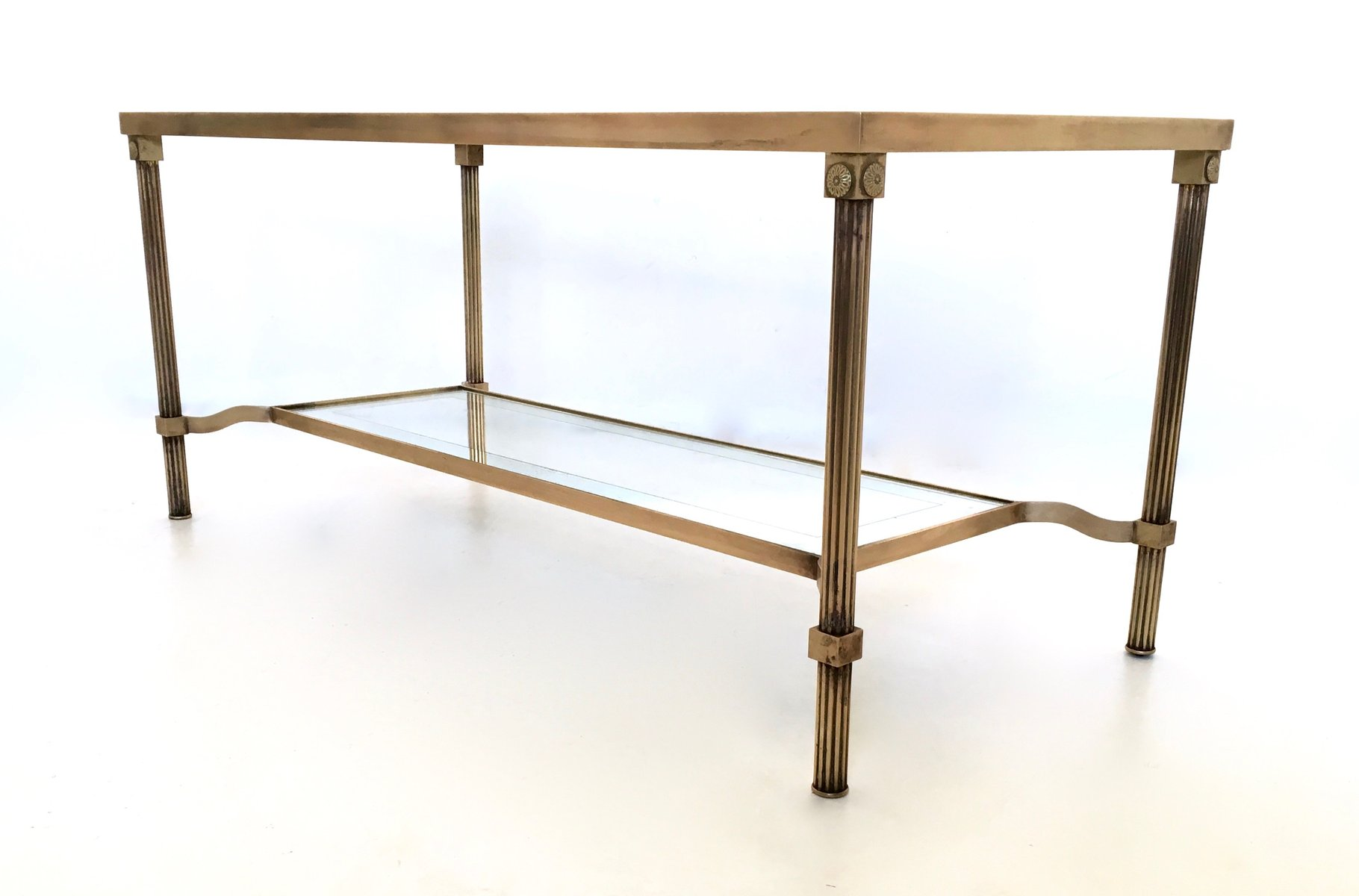 Italian Two Tiered Brass Glass Coffee Table 1950s