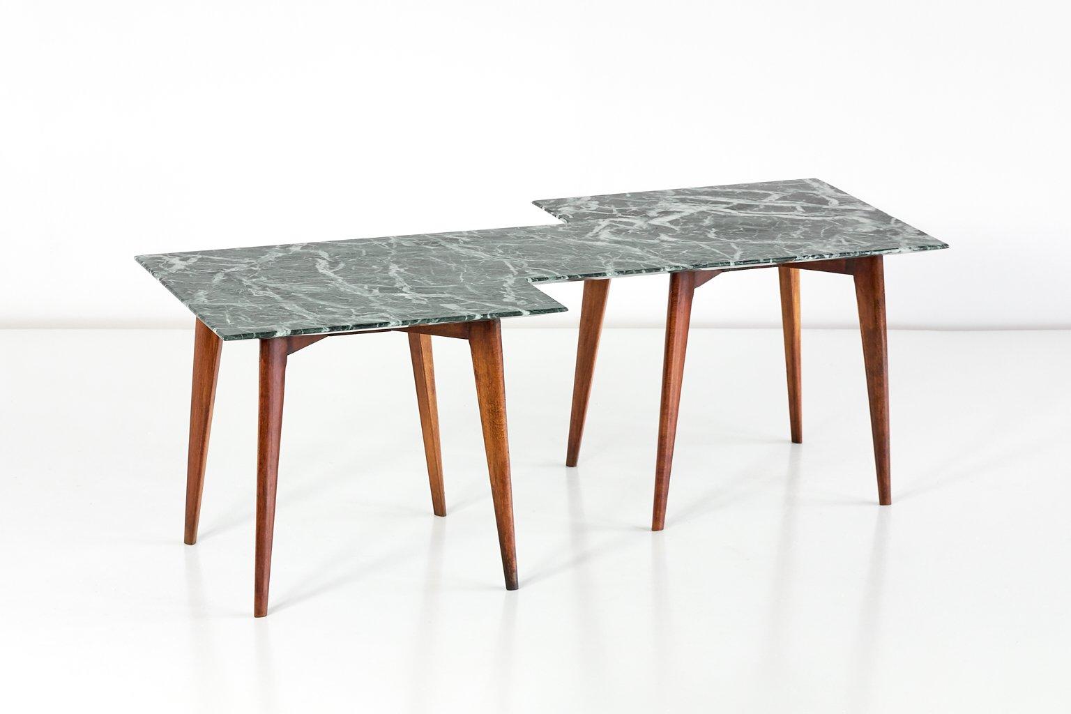 Table basse g om trique avec plateau en marbre vert italie en vente sur pamono - Table basse plateau marbre ...
