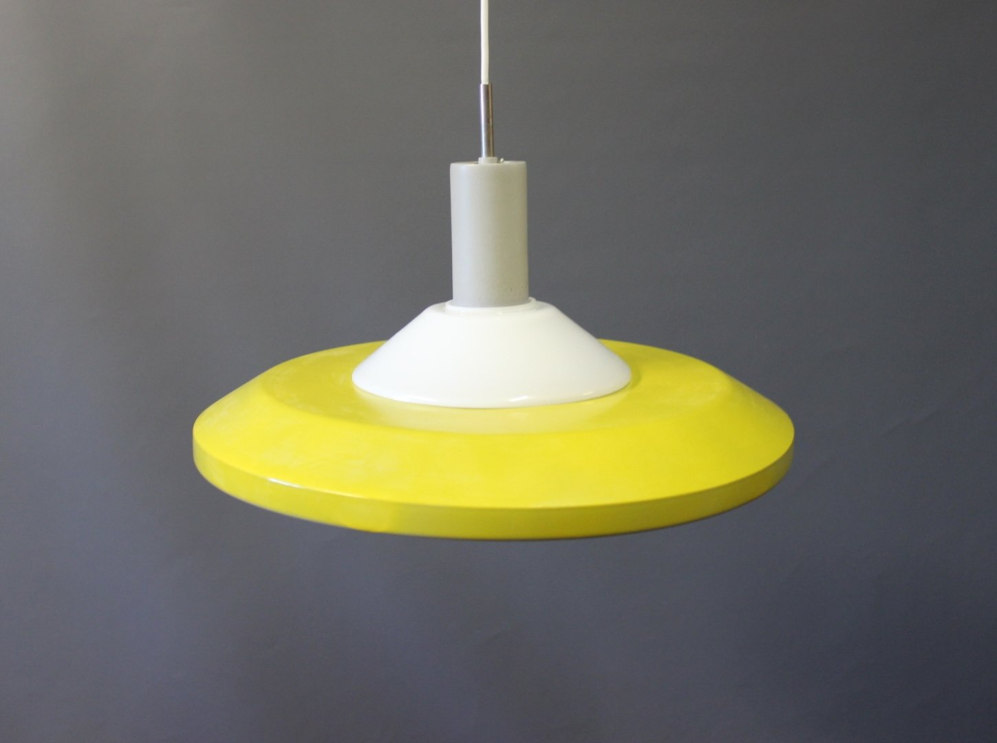 Stockholm Pendant In Yellow Lacquered Metal And Opaline Glass From Louis Poulsen 1960s For Sale