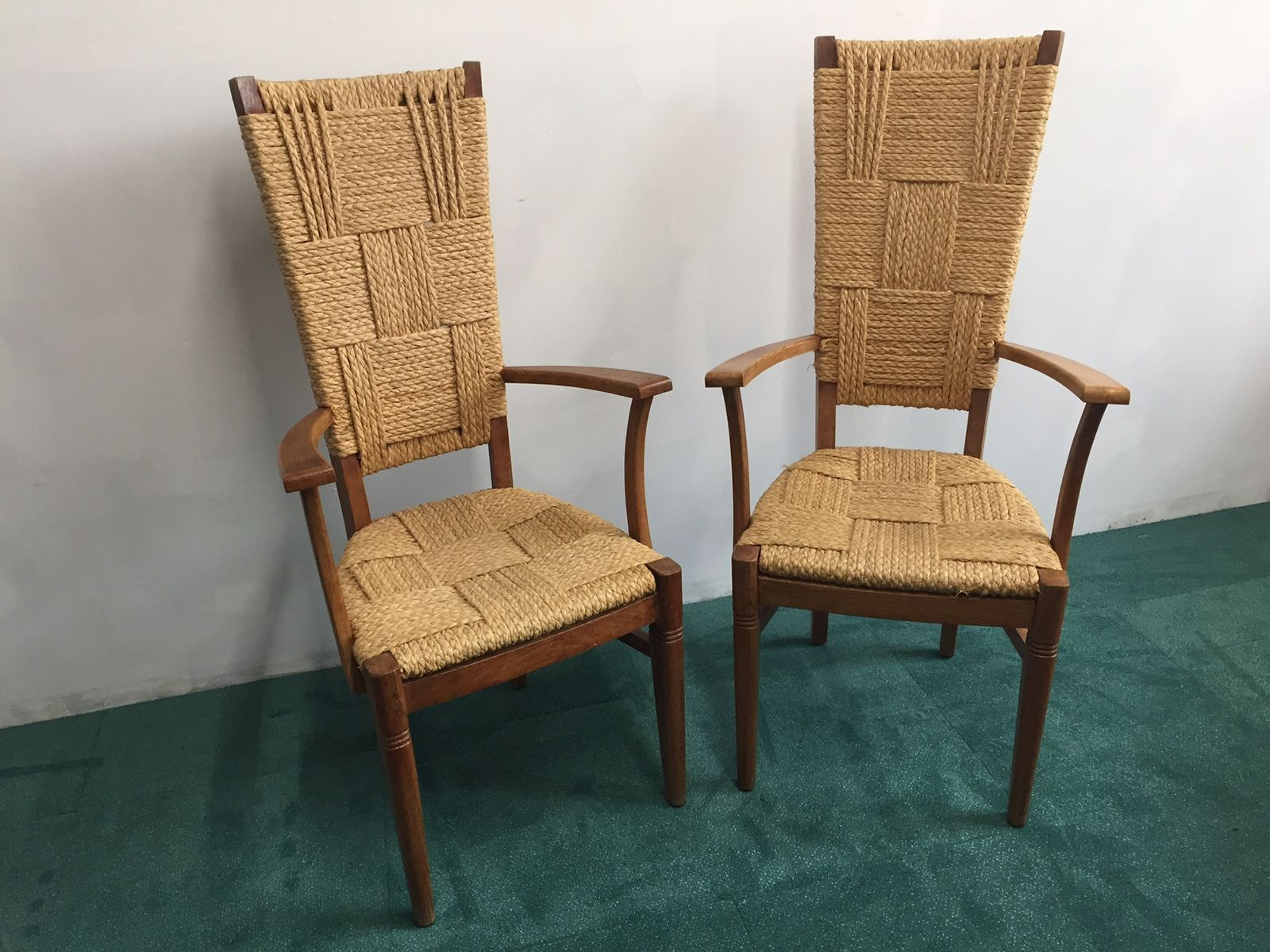 Superbe Vintage High Back Chairs By Audoux Minet, Set Of 2