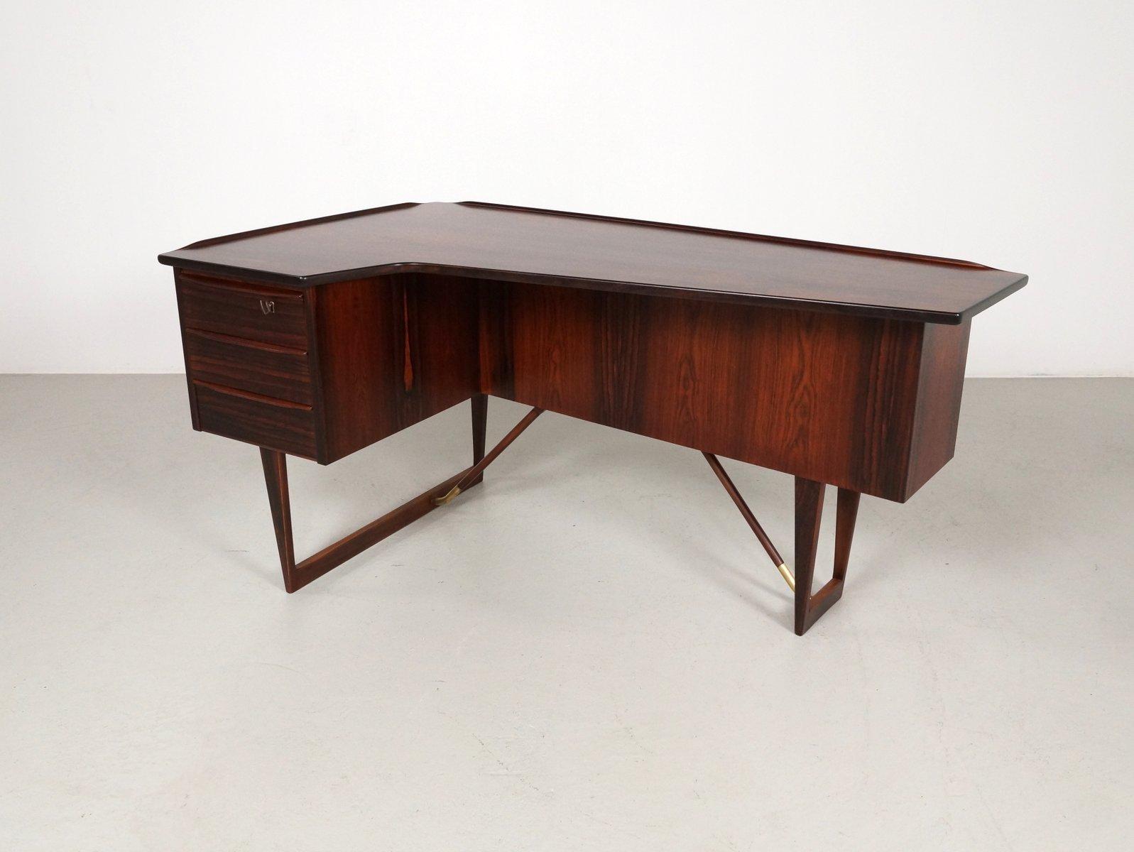 Mid Century Danish Rosewood Corner Desk By Peter Løvig Nielsen For Hedensted Møbelfabrik 1967