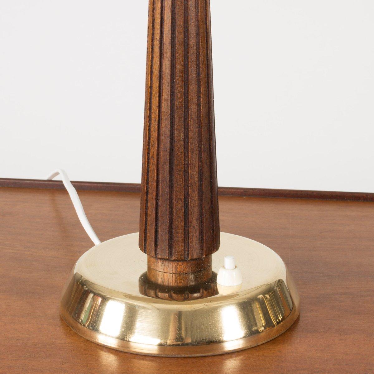 lampe de bureau mid century en laiton et acajou par hans bergstr m pour asea 1950s en vente sur. Black Bedroom Furniture Sets. Home Design Ideas