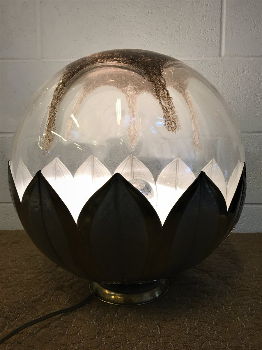 Vintage Italian Spherical Glass And Metal Flower Table Lamp For Sale