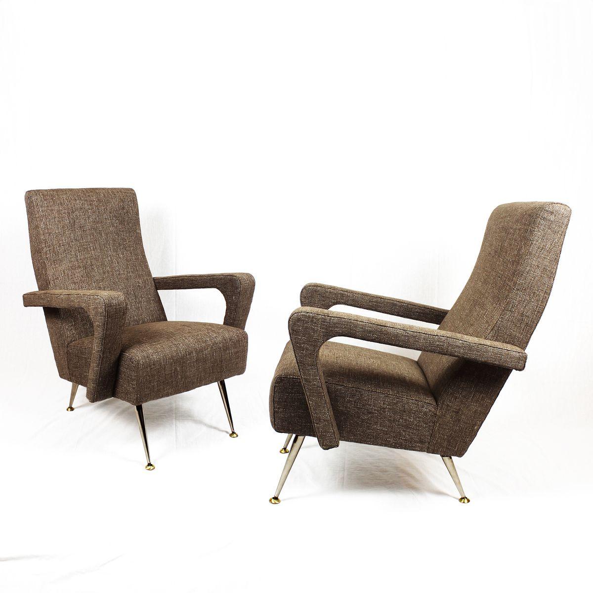 Beige Mid-Century Leinen und Aluminium Sessel, 1950er, 2er Set