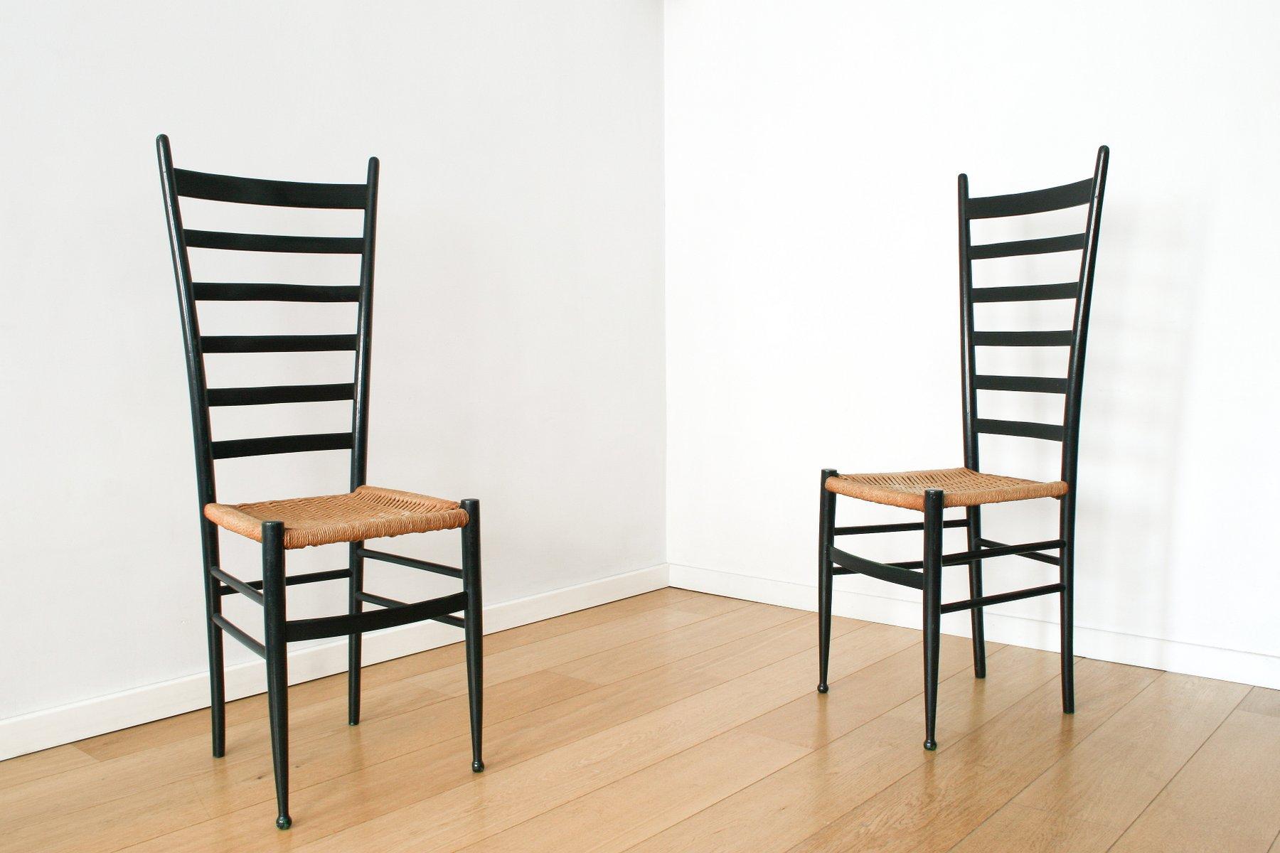 italienische chiavari st hle mit hoher r ckenlehne 1950er 2er set bei pamono kaufen. Black Bedroom Furniture Sets. Home Design Ideas