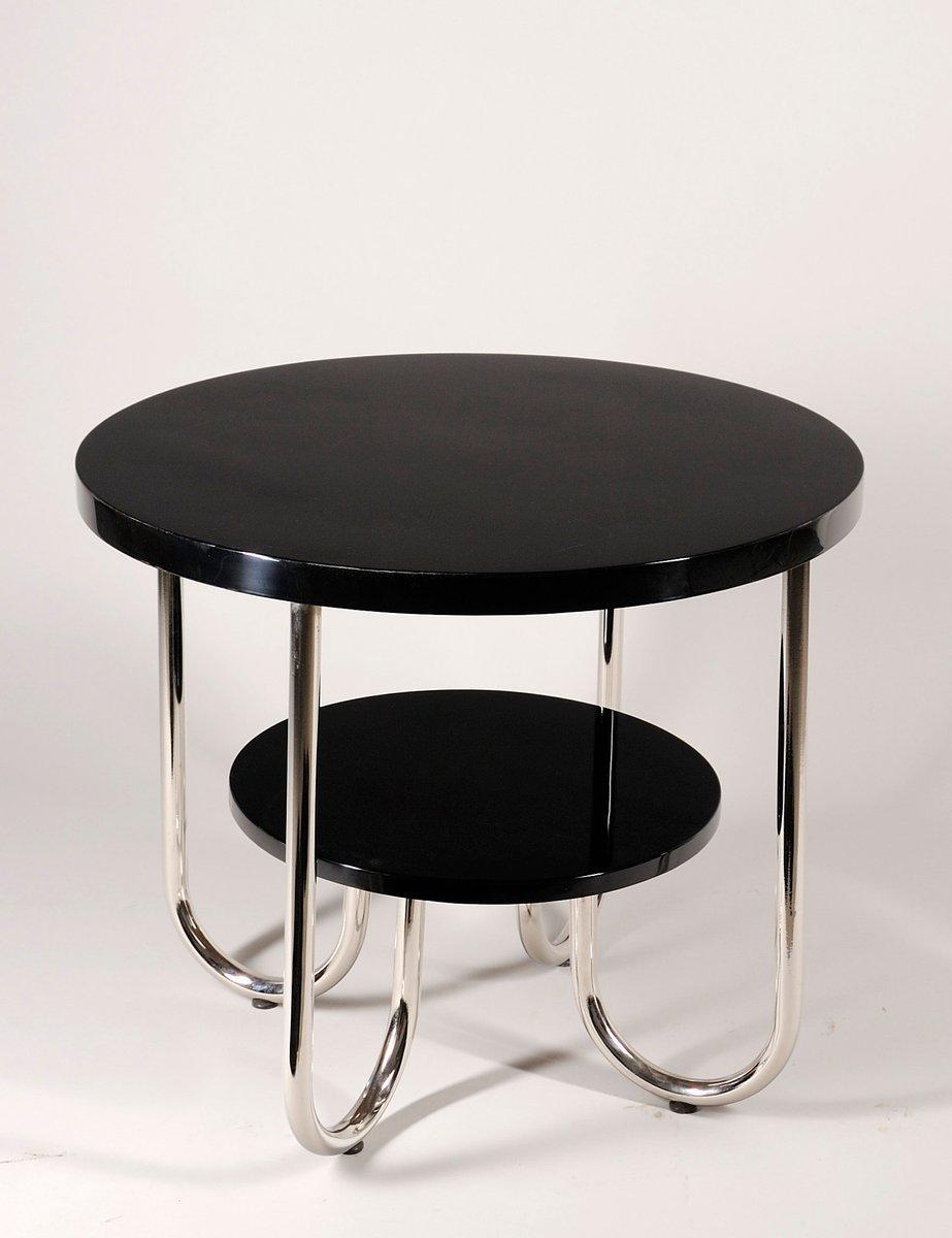 Runder Vintage Chrom Tisch mit Zwei Ablagen von Robert Slezák Company