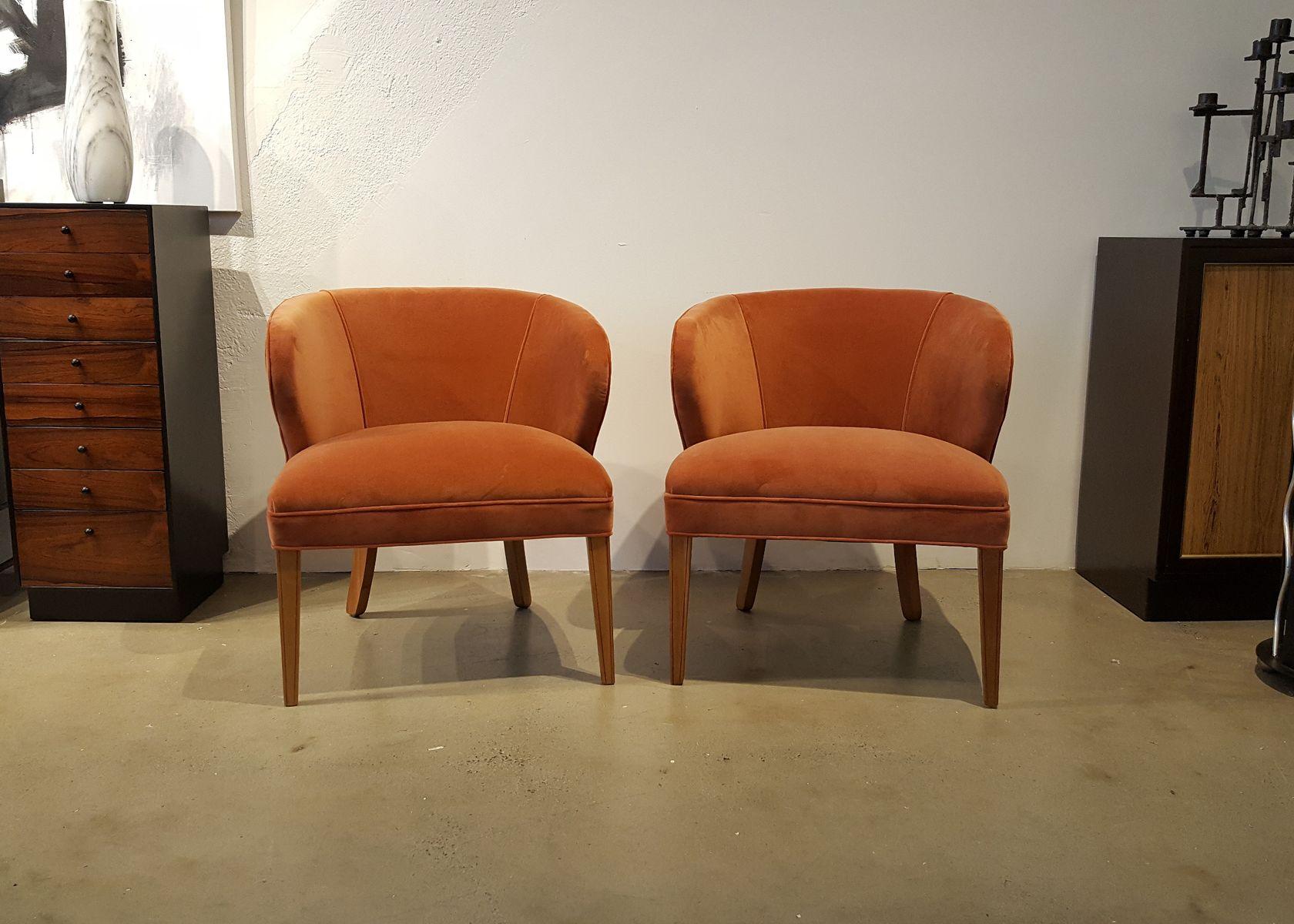skandinavische pfirsichfarbene mid century sessel aus samt 1960er 2er set bei pamono kaufen. Black Bedroom Furniture Sets. Home Design Ideas