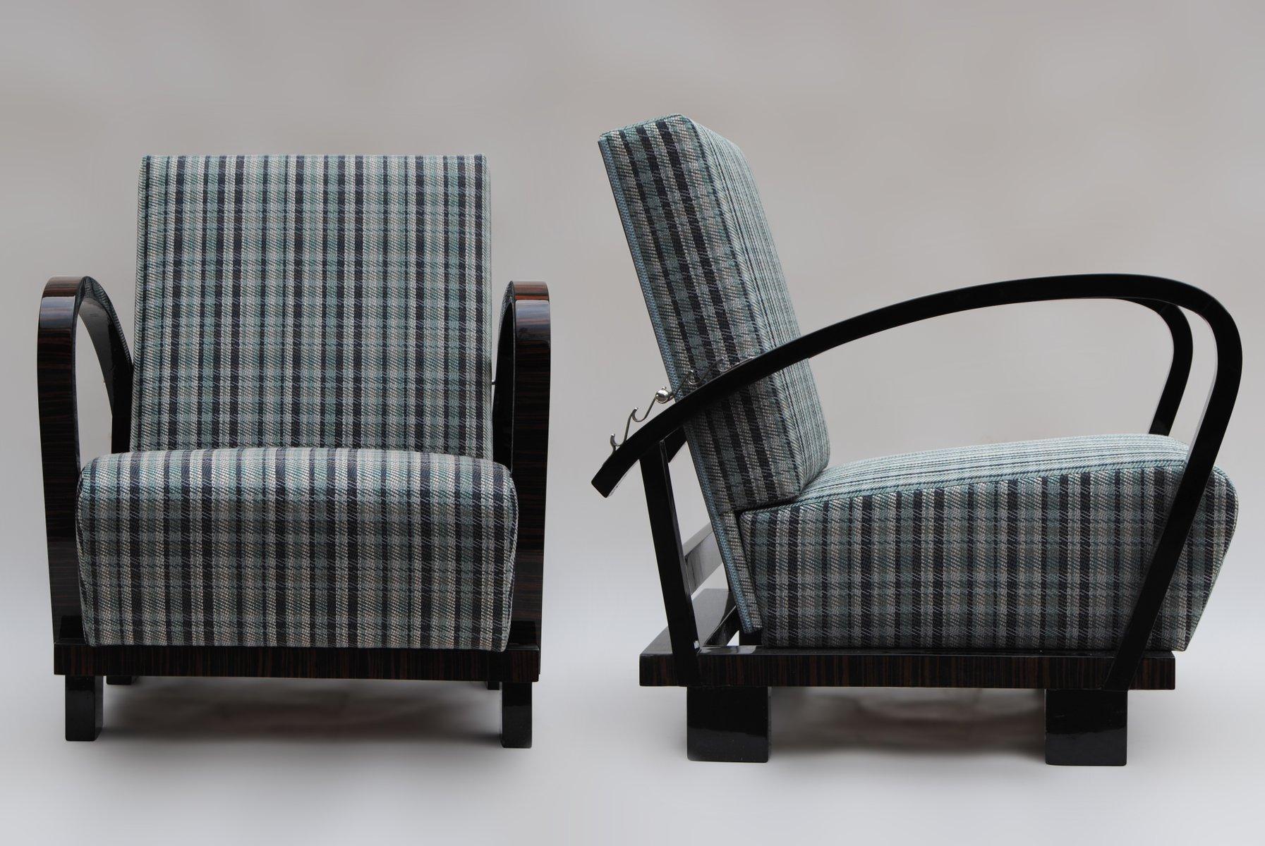 Verstellbare Vintage Makassar Furnier Sessel, 2er Set