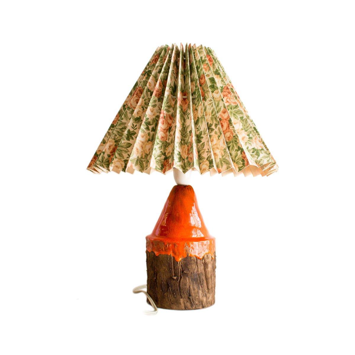 Danish Ceramic Orange Glazed Table Lamp 1960s For Sale At Pamono