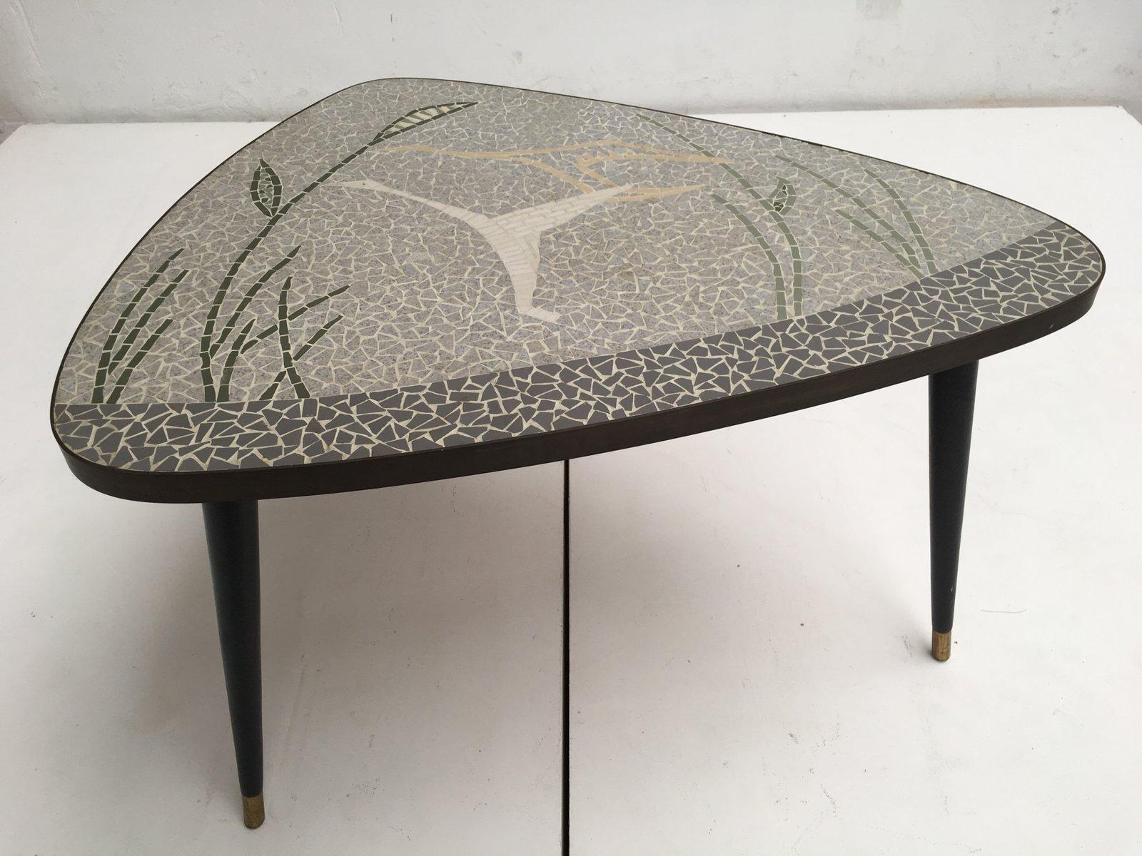 Deutscher Couchtisch aus Messing & Mosaik mit Fliegendem Vogel, 1950er