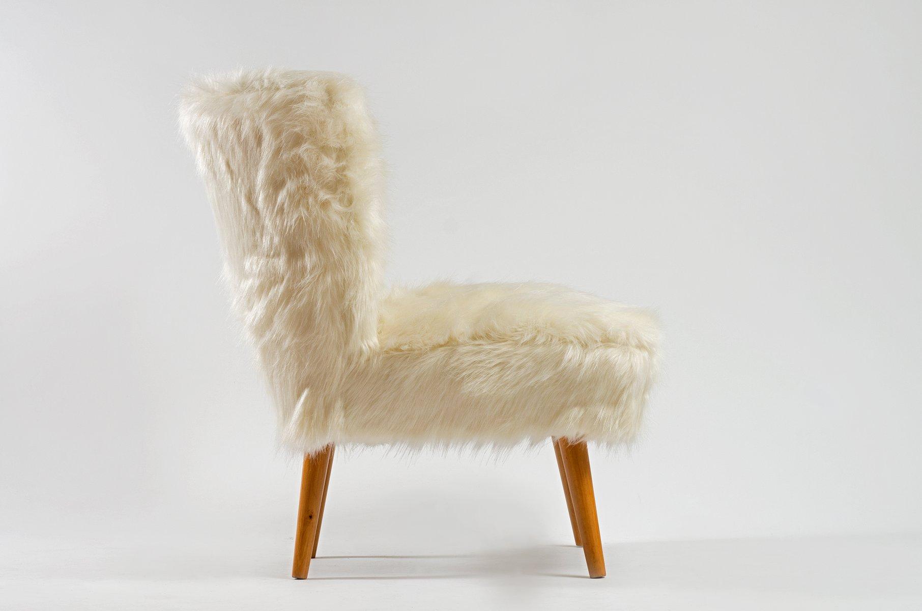 chaise cocktail mid century en fausse fourrure blanche en vente sur pamono. Black Bedroom Furniture Sets. Home Design Ideas