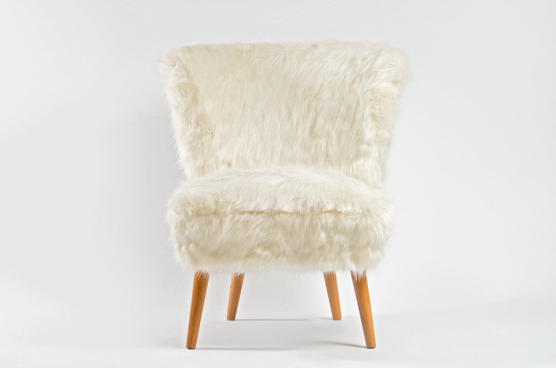 Mid-Century Cocktail Sessel mit weißem Kunstfell